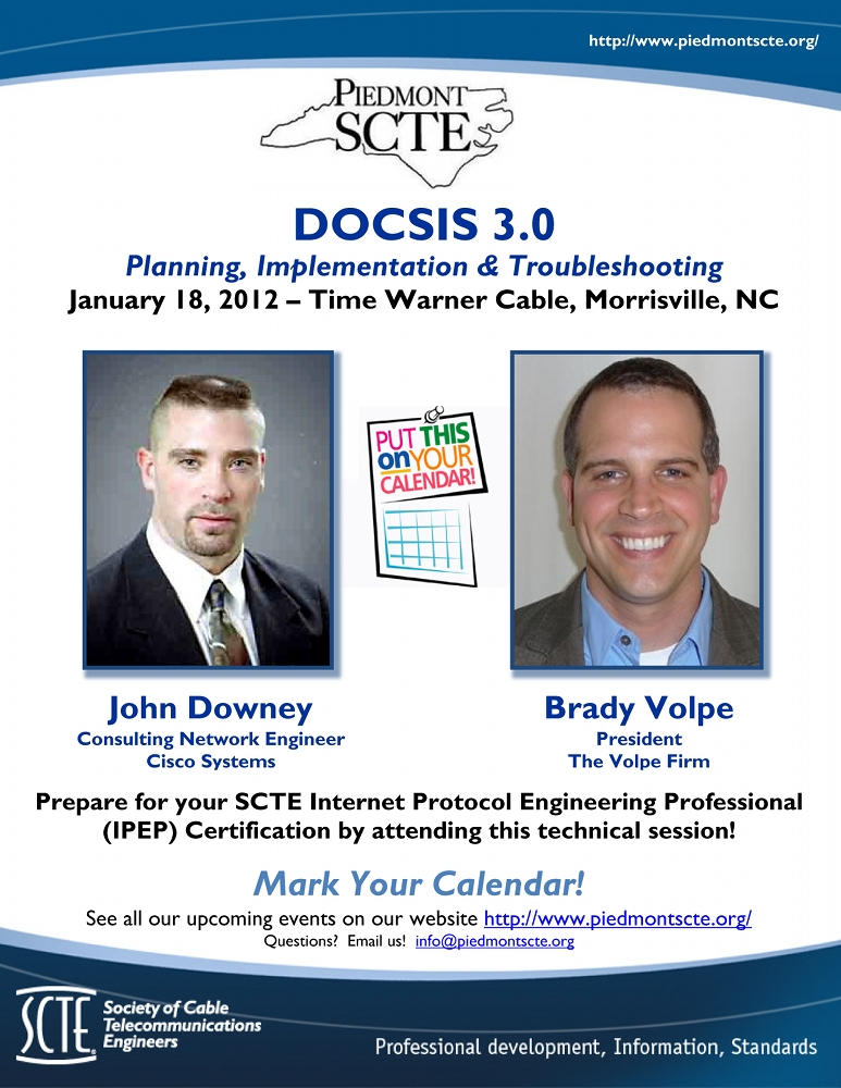 SCTE Piedmont Chapter DOCSIS 3.0 Presentation