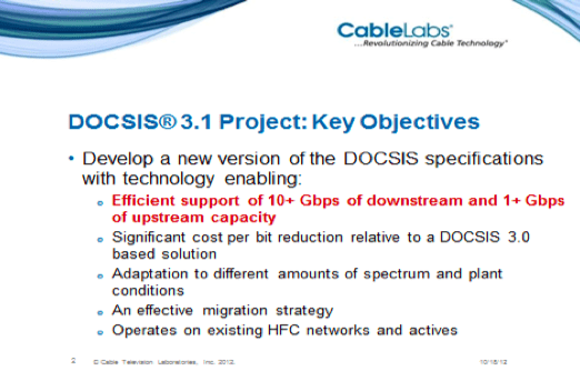 "Excerpt from ""DOCSIS® 3.1 Project: Key Objectives and Direction"" given October 18, 2012 during SCTE Cable-Tec Expo 2012 describing DOCSIS 3.1/NG objectives (Schmitt, 2012)"